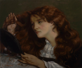 JO THE BEAUTIFUL IRISH GIRL RED HAIR MIRROR PAINTING BY GUSTAVE COURBET REPRO